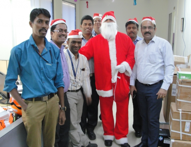 Santa Claus with IT Team